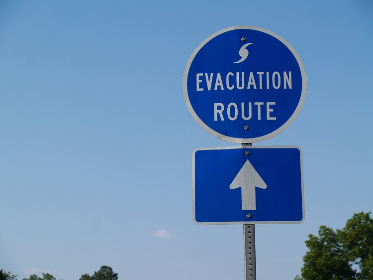 Hurricane Evacuation Route sign for 2016 Blog post - 750 pix