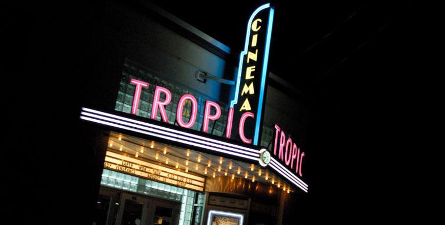 Tropic Cinema Sign at night Key West