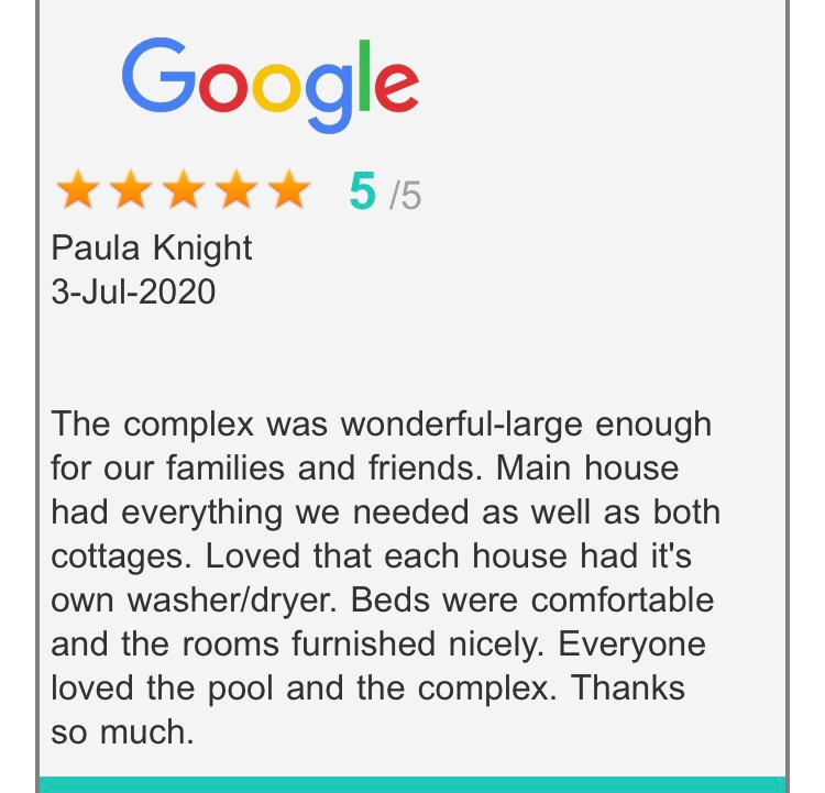 5 Star Google Review from happy guest who stayed with VHKW in July 2020