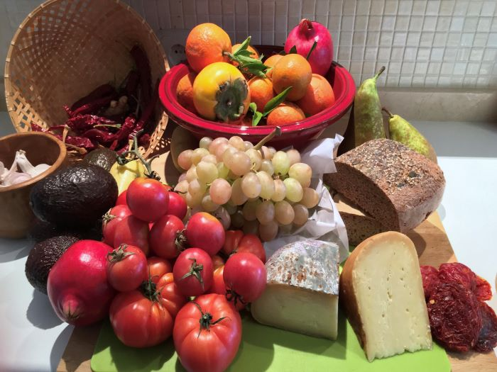 Cornucopia of fresh Vegetables, Fruits, and Cheeses for Vacation Thanksgiving dinner