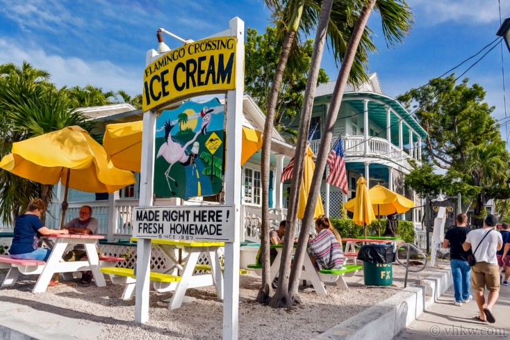 Famous landmark in Old Town Keywest Ice Cream Sign